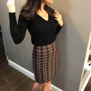 Red & Black Tweed Pencil Skirt | SZ 6